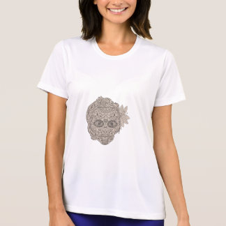 Female Sugar Skull Calavera Retro T-Shirt