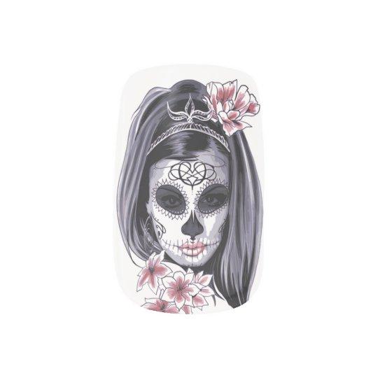 Female Sugar Skull. Nail Art