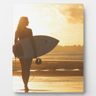 Female Surfer on the Beach Photo Plaques