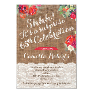 Female Surprise 65th Birthday Invites, Red Roses Card