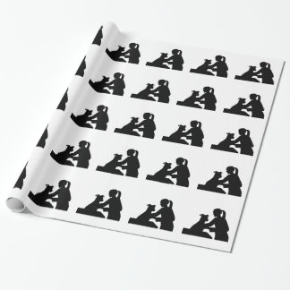 Female veterinarian wrapping paper