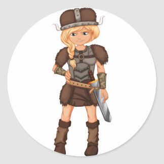 Female viking classic round sticker