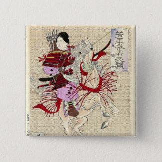 Female Warrior Japanese Woodblock Print 15 Cm Square Badge