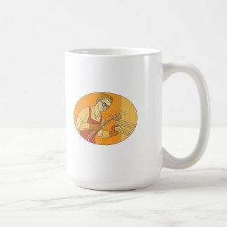 Female Welder Acetylene Welding Vintage Mono Line Coffee Mug