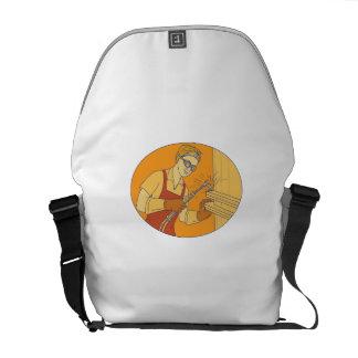 Female Welder Acetylene Welding Vintage Mono Line Courier Bags