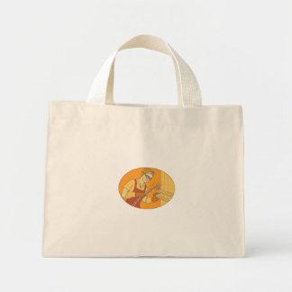 Female Welder Acetylene Welding Vintage Mono Line Mini Tote Bag