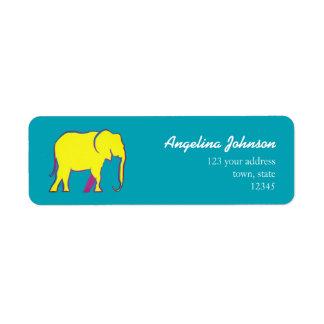 Female Yellow Bold Cartoon Elephant Blue Bright Return Address Label