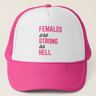 Females Strong Hell Gym Quote Trucker Hat
