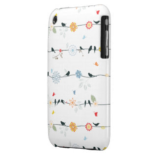 Feminine Birds on a Wire and Flowers iPhone 3 Cases
