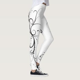 Feminine black and white leggings