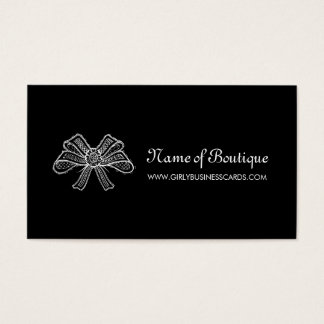 Feminine Boutique Black and White Lace Ribbon Business Card