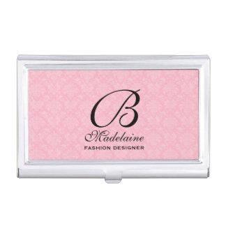 Feminine Damask in Pink and Black with Monogram Business Card Holder