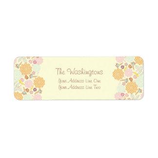 Feminine Fancy Modern Floral Personalized Return Address Label