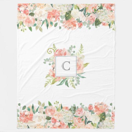 Feminine Floral Pattern with Your Monogram Fleece Blanket