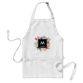 Feminine Floral Watercolor | Custom Monogram Name Standard Apron