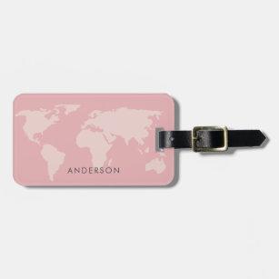 FEMININE GIRLY BLUSH PINK ROSE GOLD WORLD MAP LUGGAGE TAG