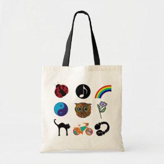 feminine girly-pattern design tote bags