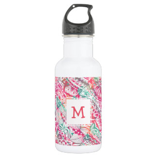 feminine hand drawn pink tribal floral pattern 532 ml water bottle
