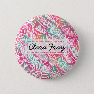 feminine hand drawn pink tribal floral pattern 6 cm round badge