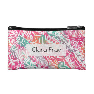 feminine hand drawn pink tribal floral pattern cosmetic bags