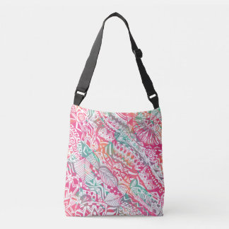 feminine hand drawn pink tribal floral pattern crossbody bag