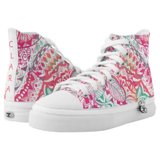 feminine hand drawn pink tribal floral pattern high tops