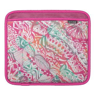 feminine hand drawn pink tribal floral pattern iPad sleeve