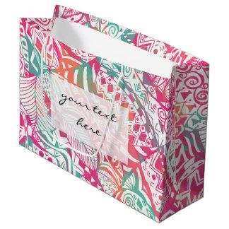 feminine hand drawn pink tribal floral pattern large gift bag