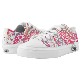 feminine hand drawn pink tribal floral pattern low tops