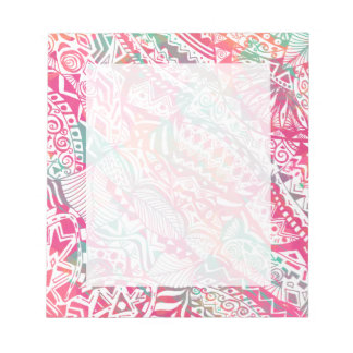 feminine hand drawn pink tribal floral pattern notepad