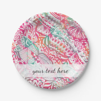feminine hand drawn pink tribal floral pattern paper plate