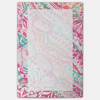 feminine hand drawn pink tribal floral pattern post-it® notes