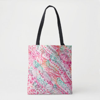 feminine hand drawn pink tribal floral pattern tote bag