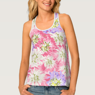 Feminine large pink and mauve flowers singlet