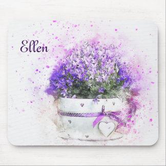 Feminine, lavender and purple flowers bouquet mouse pad