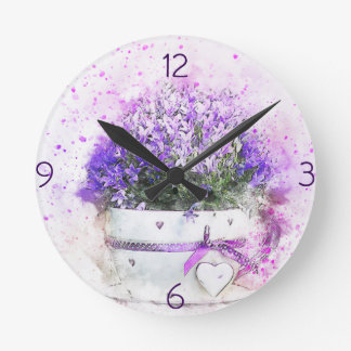 Feminine, lavender and purple flowers bouquet round clock