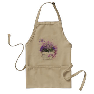 Feminine, lavender and purple flowers bouquet standard apron
