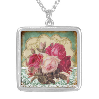 Feminine Loveliness:Vintage Pink Flowers with Lace Silver Plated Necklace