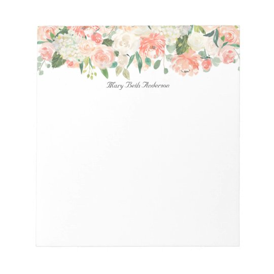 Feminine Peach Floral Pattern with Your Name Notepad