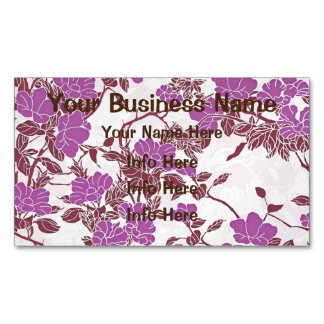 Feminine Pink And White Flowers Magnetic Business Cards