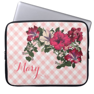 Feminine Pink Gingham and Petunias Laptop Sleeve