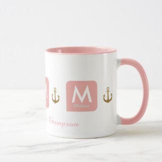 feminine pink mug for her with anchors