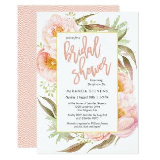 Feminine Pink Peonies Floral Bridal Shower Card
