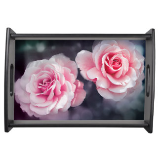 Feminine Pink Roses Floral Photo Serving Tray