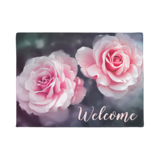 Feminine Pink Roses Floral Photo Welcome Doormat