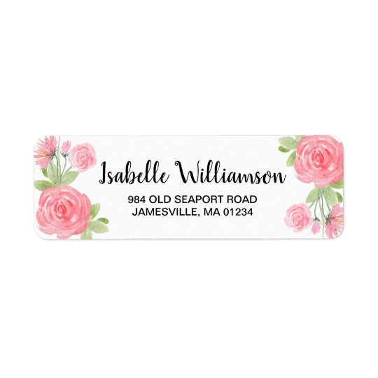 Feminine Pink Roses Return Address Labels