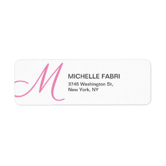 Feminine Pİnk White Monogram Modern Plain Return Address Label