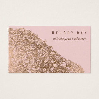 Feminine Private Yoga Instructor Pink Gold Shimmer Business Card
