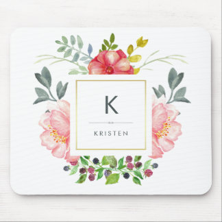 Feminine Trendy Watercolor Peony Flowers Monogram Mouse Pad
