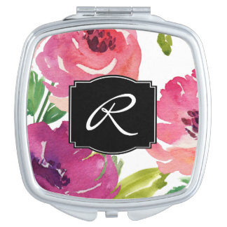 Feminine Watercolor Floral Monogrammed Makeup Mirror